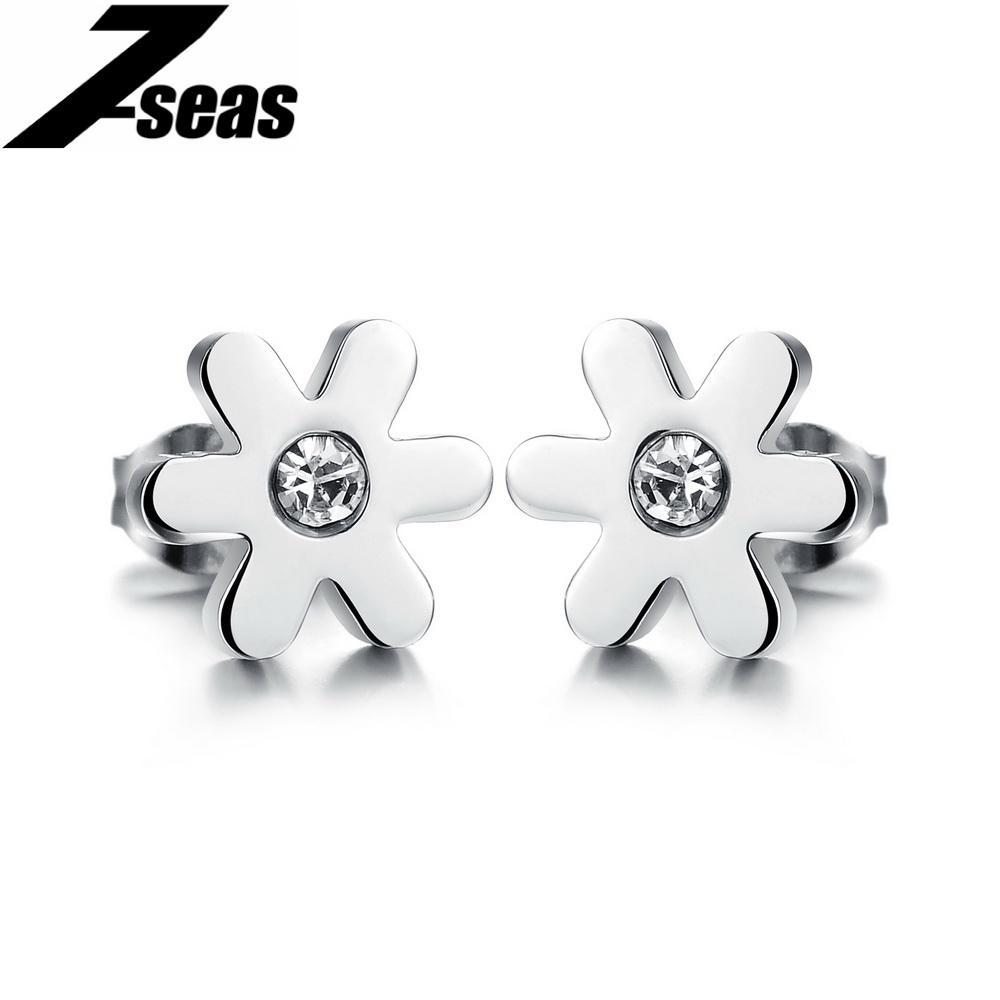 Free Shipping HOT Sale Fashion jewelry Daisy CZ Diamond lady Stainless Steel earrings Women stud Earrings Ornaments 279(China (Mainland))