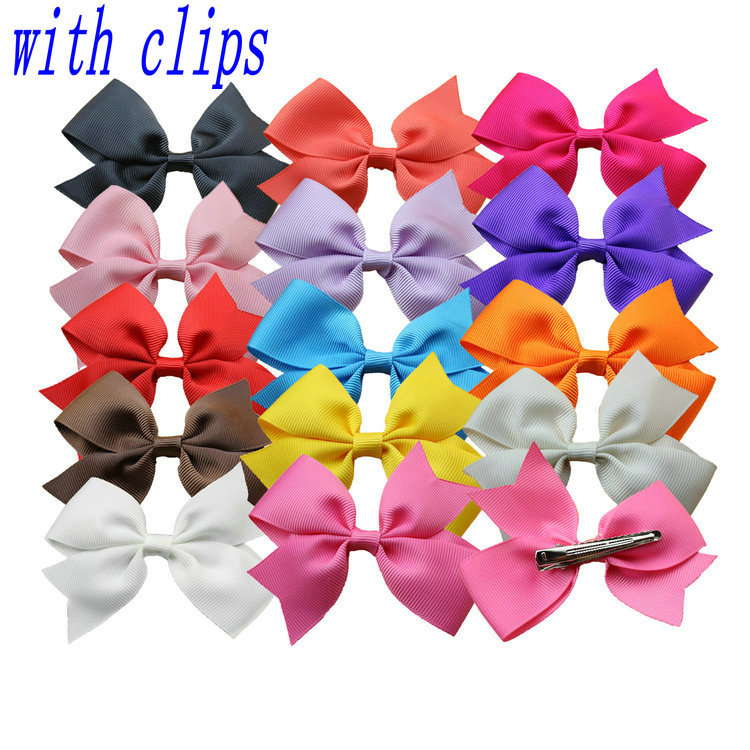 "1pcs fashion Boutique 3.5"" Grosgrain Ribbon HairBow hairclips Baby Girl Hair Bows Clip children Kids Hair Accessories(China (Mainland))"