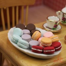 1/12 scale Lot 12pcs Dollhouse Miniatures Tea Cakes Assorted Colors and 1 Plate(China (Mainland))