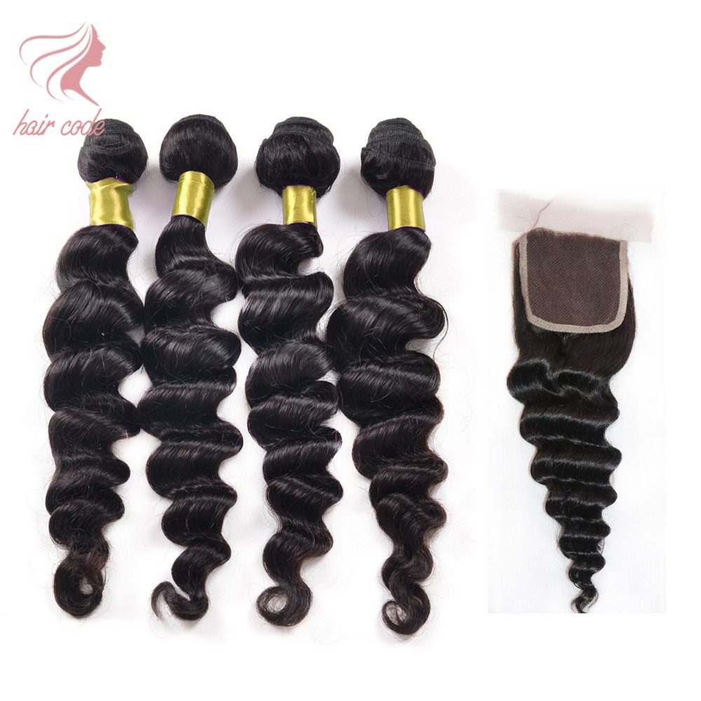 New Grade 7A Malaysian Loose Wave With Closure 3 Virgin Hair Bundles With Closure Grace Hair Products With Closure Lace Closures