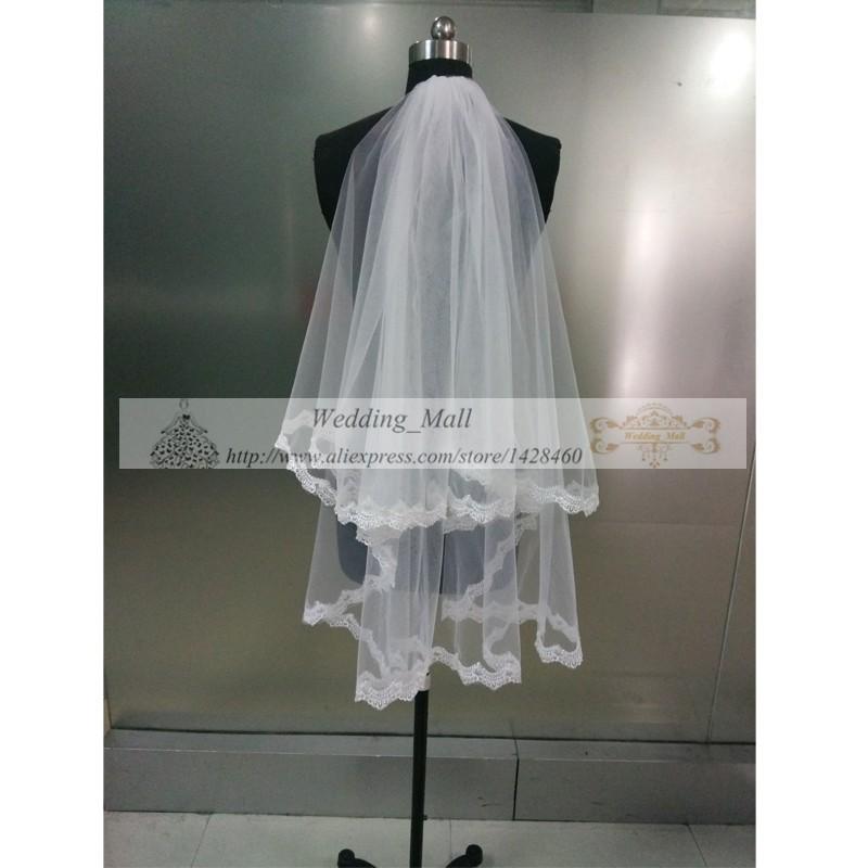 В наличии белый и слоновая кость кружева аппликация край двухслойной тюль свадебное фата свадебные аксессуары настоящее короткие фату