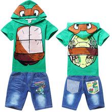 Детская одежда устанавливает мальчиков свободного покроя черепашки-ниндзя turtls с короткими рукавами + брюки две пьесы устанавливает детские дети подходит розницу