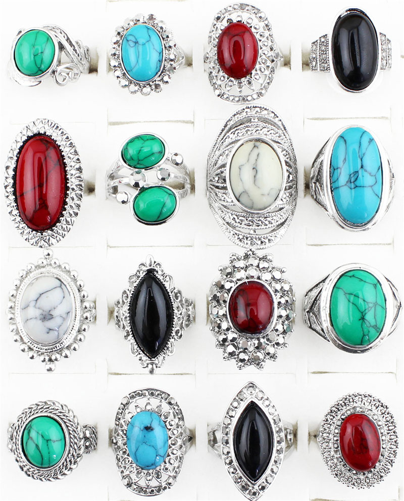 Wholesale Lot 5pcs Vintage Look Retr Craft Tibet Alloy Silver Plated Assorted Design And Color Turquoise Rings TR179(China (Mainland))