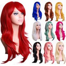 28 » 70 см длинные волнистые черный красный 10 цветов синтетические волосы аниме косплей, Праздника хэллоуин ну вечеринку женщин серебряная белый Peruca парик