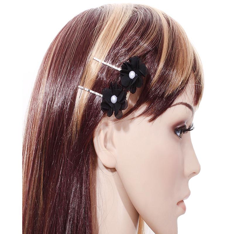 2PCS/Set Fashion Women Hair Clip Cute High Quality Black Flowers Barrettes Handmade DIY Imitation Pearl Hairpin Gothic Jewelry(China (Mainland))