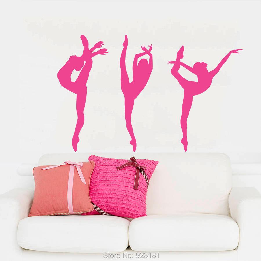 Ballerina Girl Ballet Dancer Gymnastics Sport Wall Art Sticker Decal Home DIY Decoration Wall Mural Removable Decor Sticker 71cm(China (Mainland))