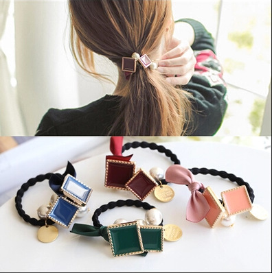 [6858]elastic band bracelet summer style hair accessories women headband clips gum weave baffle braided bow bandana ornaments(China (Mainland))