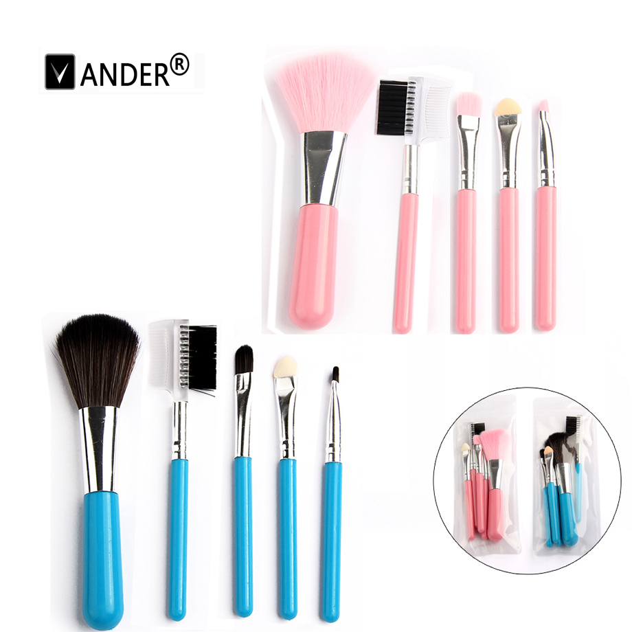 USA Store! Pink Blue 5 Pcs/ kits Foundation Makeup Brushes Set Professional Cosmetic Soft Face Eyelash Make Up Brush Tools(China (Mainland))