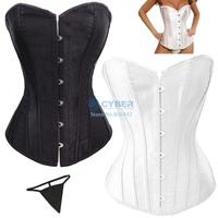 Corset + G-string sexy gothic clothing waist training corselets steel boned corsets bustiers plus size lingerie 50