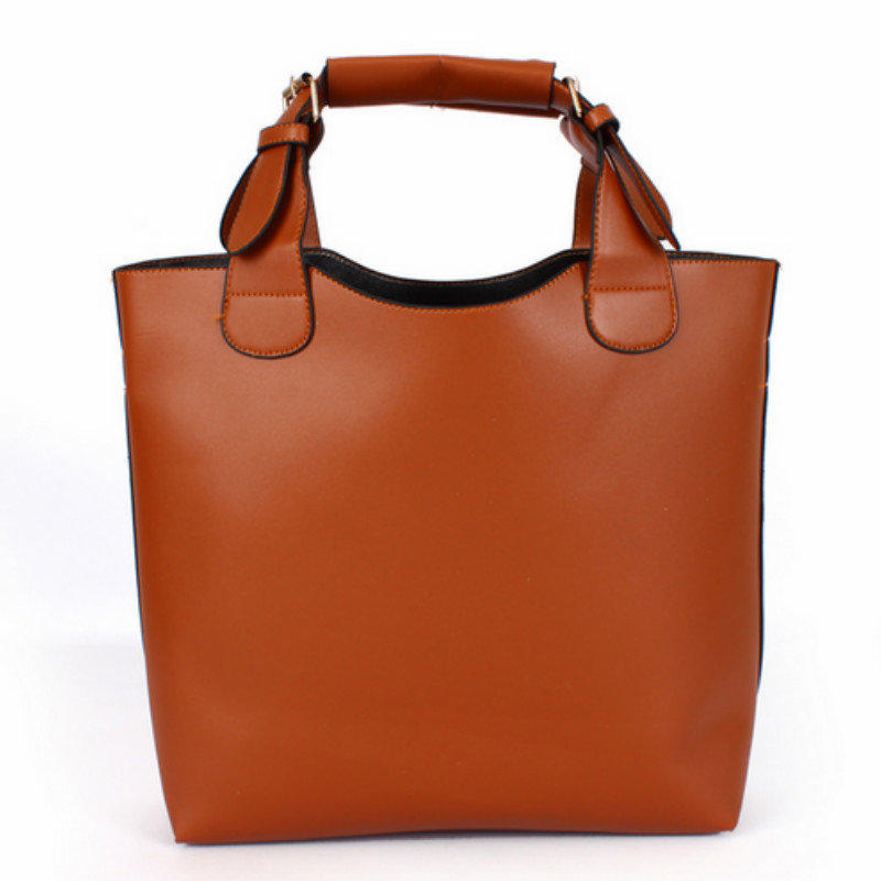 2015 New Women's Fashion Handbag European and American Style Shoulder Bag Big Solid PU Tote Bag + Free Shipping(China (Mainland))