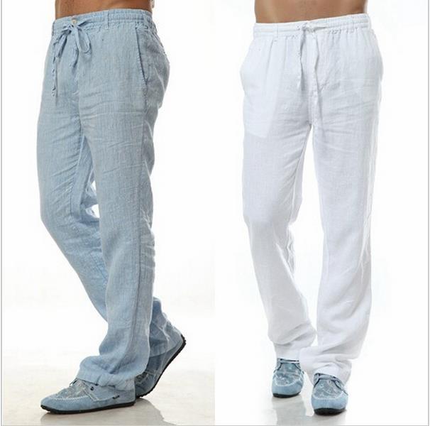 2015 Summer Leisure Trousers 5 Colors 100% Linen Cotton Elastic Waist Men Pants Regular Straight Bottom Flax Men Casual Pants(China (Mainland))