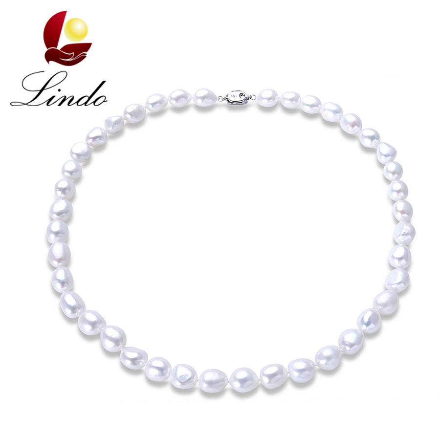 2017 New Arrival 100% Natural Freshwater Pearl Women Baroque Necklace Elegant 925 Sterling Silver White Pearl Strand Jewelry(China (Mainland))