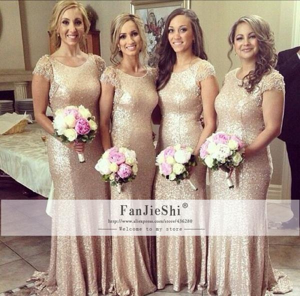 2015 New Arrive Vestido Floor-Length Scoop Neckline Cap Sleeve Sequins Backless Custom Made Mermaid Bridesmaid Dresses - Suzhou FanJieShi Wedding Dress Co., Ltd. store