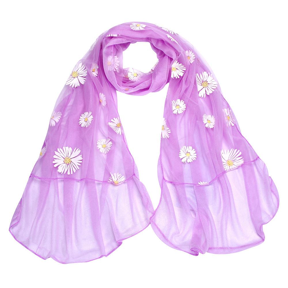Mance 190cm Women Flower Long Chiffon Scarf Wrap Shawl Girls Daisy Neck Circle Scarves(China (Mainland))