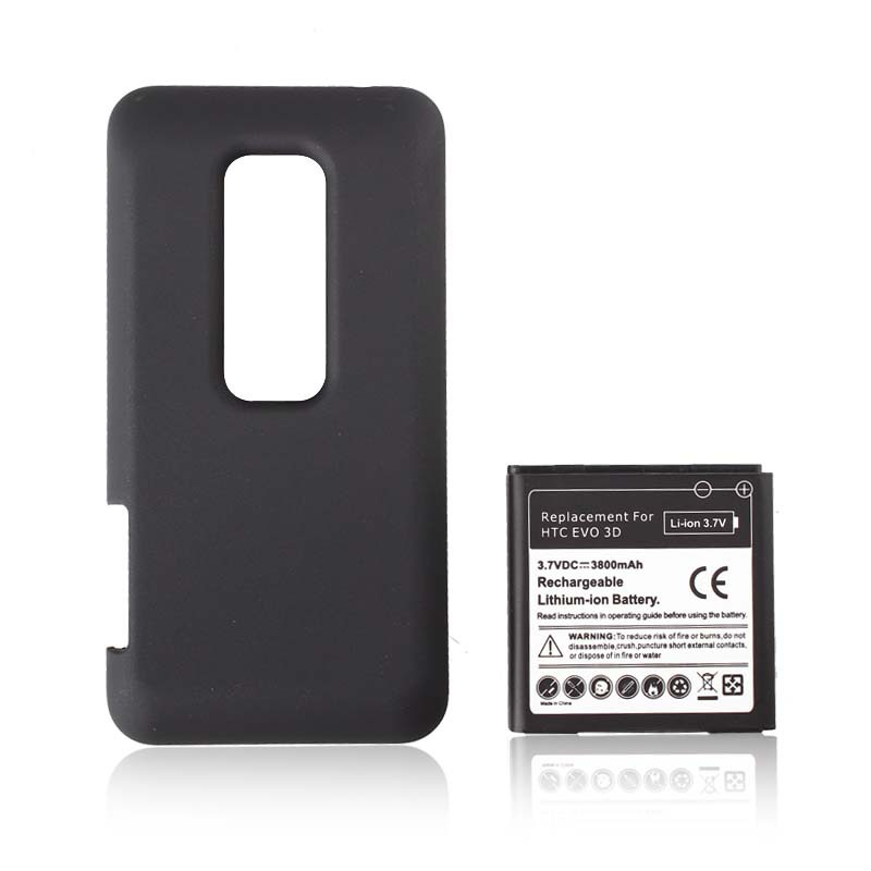 New Extended 3500mah Rechargeable Commercial Battery + Back Case For HTC EVO 3D(China (Mainland))