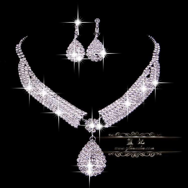 Free Shipping Wedding Crystal Bridal Jewelry Sets Hotsale Necklace+earrings Cheap Jewelry ...