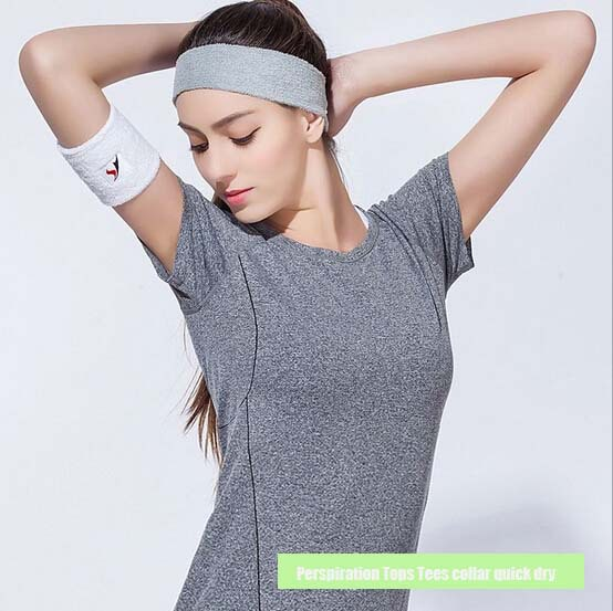 Perspiration Tops Tees collar quick dry sweat running outdoors fitness aerobics sports short sleeved T-shirt gift Clothing - Online Store 920243 store
