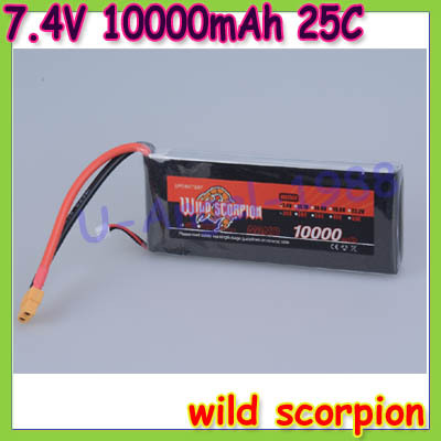 Free shipping wild scorpion 100% Brand 7.4V 10000mAh 2S 25C Li-po Battery energy sources Multi-rotor helicopter<br><br>Aliexpress