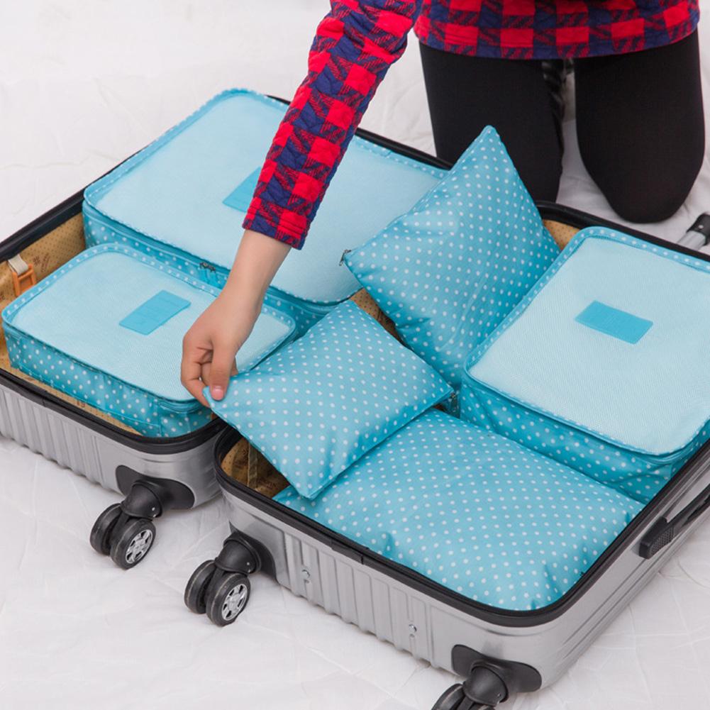Newly Sale Blue Pink 6Pcs/Set Women Men Travel Polka Dot Storage Bag Portable Luggage Clothes Tidy Storage Pouch Organizer Case(China (Mainland))