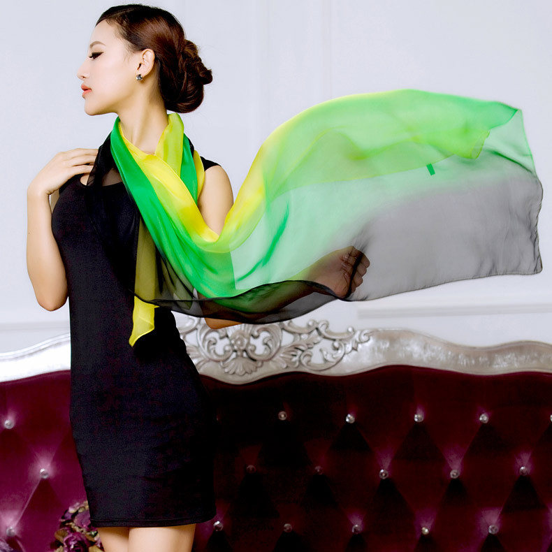 2016 winter 100% real silk scarf  wrap shawl hijab women female gradient solid color Long fashion muslim foulard femme Scarves