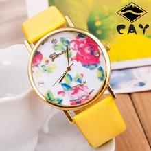 2015 nueva moda ginebra Rose flor relojes mujeres viste el reloj mujeres con estilo ocasionales de cuarzo reloj relojes orologio da polso-w009