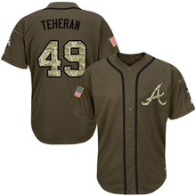 Free Shipping #5 Freddie Freeman #10 Chipper Jones #24 Deion Sanders #44 Hank Aaron Green Salute to Service Baseball Jersey(China (Mainland))