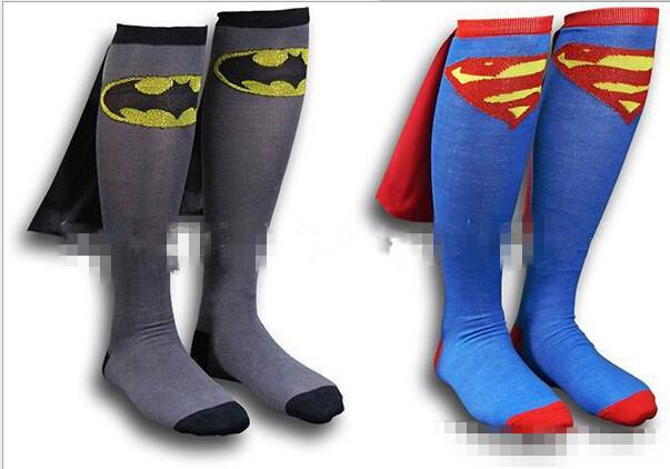 2 пк = 1 пар = 1 много бэтмен супермен носки колено высокая с мыса вилочная часть хлопок носки футбол скейтборд ретро harajuku