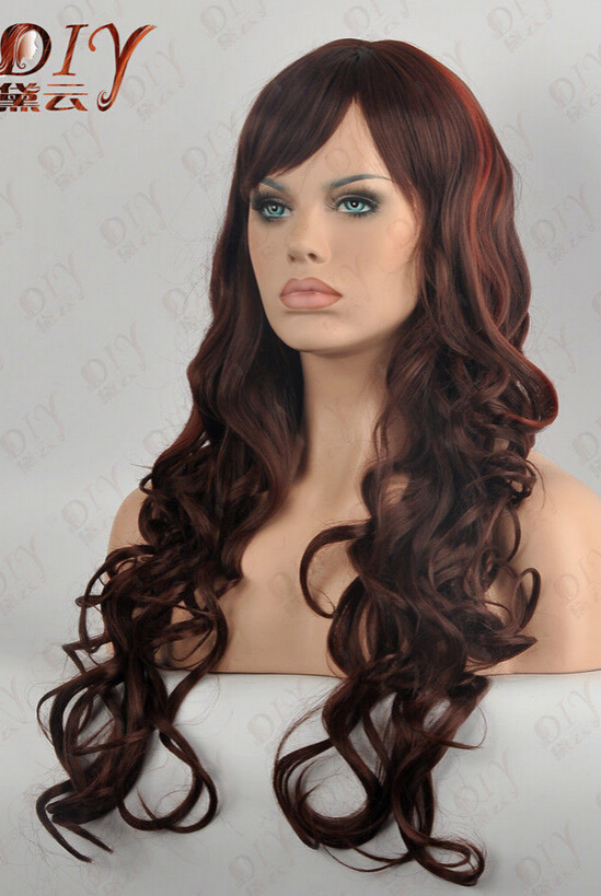 "BW0518 FREE SHIPPING Express delivery to USA Dark Brown Mix Luxury 24"" Long Cosplay Hair Curly Wig(China (Mainland))"