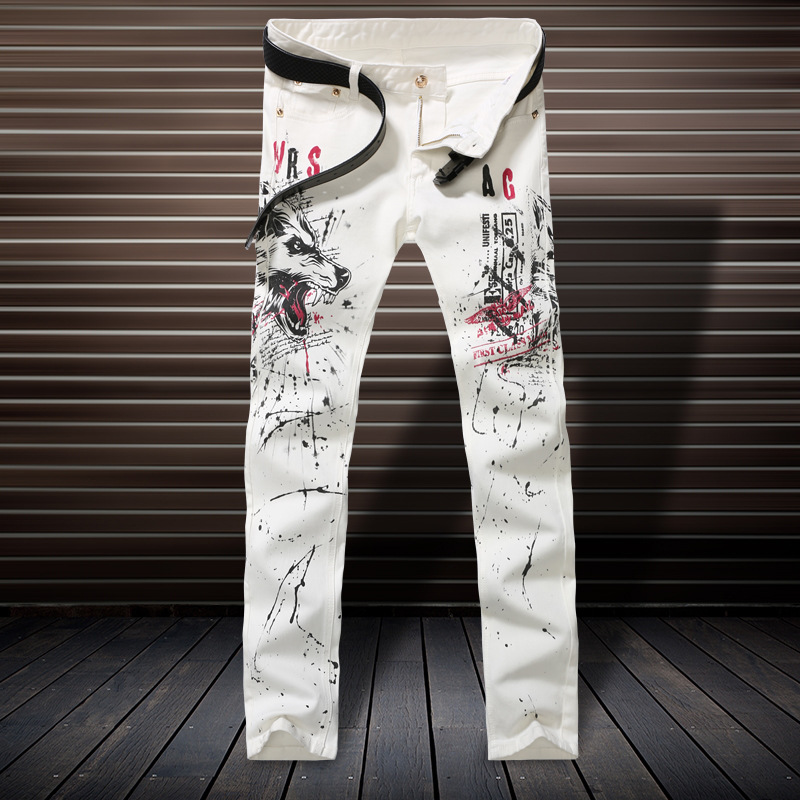 Скидки на Повседневная тощие Мужчины balmai джинсы Новый Тонкий Ноги мода Высокая эластичность полиэстер Воды печати hombre поддельные дизайнер одежды G216