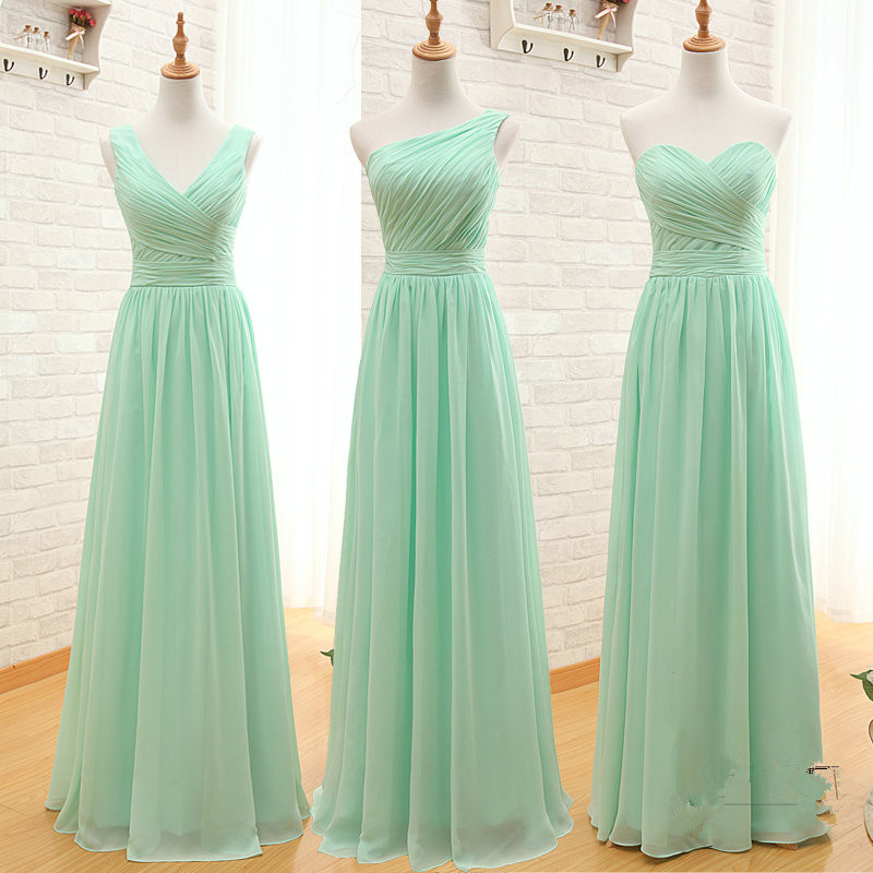 Special Bridesmaid Dresses Three Styles A Line Simple Wedding Dress Long Coral Mint Green