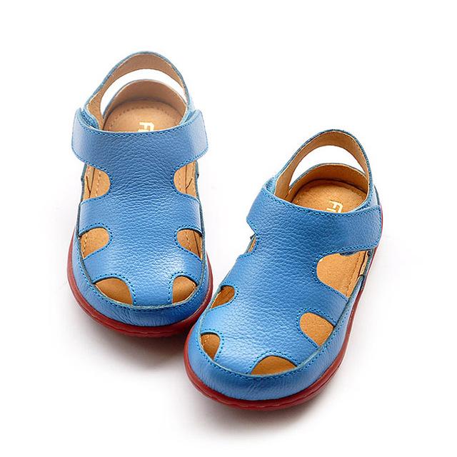 Топ qiality 2016 дети сандалии Из Натуральной кожи детская обувь вырез дышащий квартиры баотоу сандалии мальчики девочки Летом сандалии