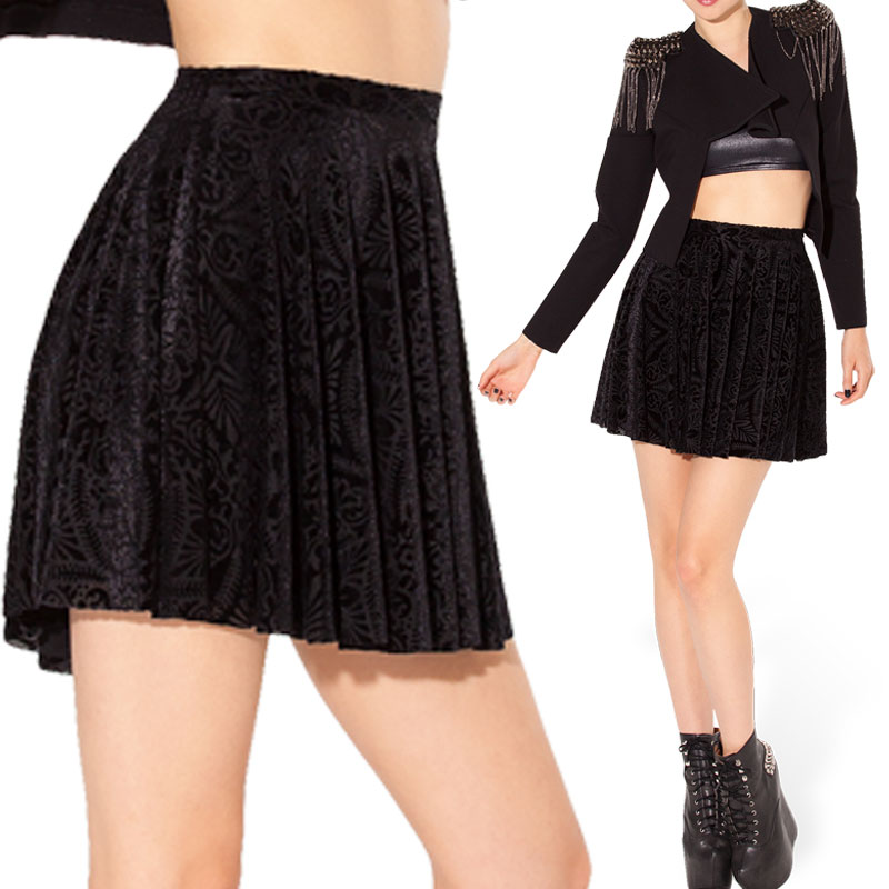 2015 new casual skirt black leopard high waist skirt