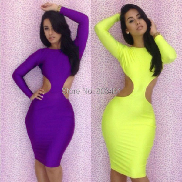 New Fashion Autumn Long Sleeves Elegant Casual Dress Backless Cut Out Dress Yellow/Purple Large Size party dress(China (Mainland))