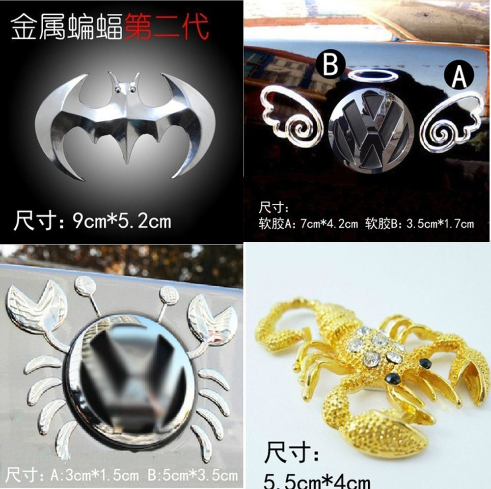 Car stickers 3 d logo metal more high quality DIY design can choose gecko post crab paste the devil angel wings Auto accessories(China (Mainland))
