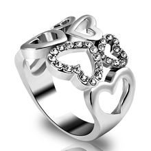 Buy Charms Hollow Heart Signet Finger Eternity Rings CZ Mosaic Crystal Big Ring Women Wedding Jewelry Anel Feminino for $1.28 in AliExpress store