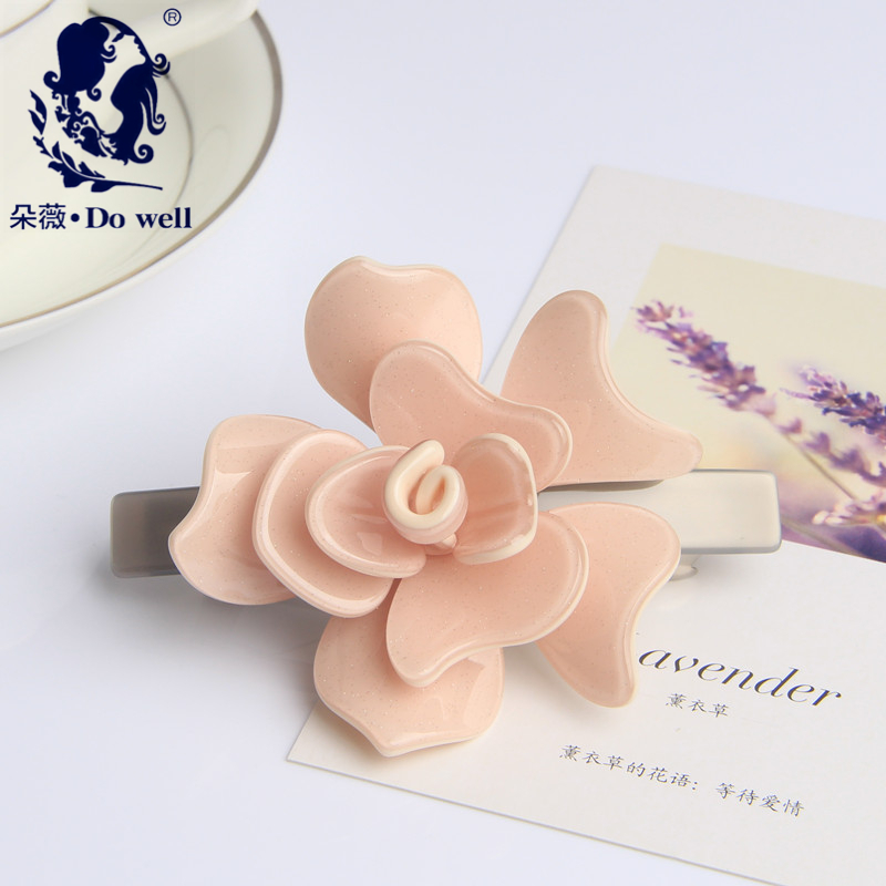 Top quality and Fashion Flower acetated Hair Clip Barrette camellia hairclips 8.8cm Long FREE SHIPPING(China (Mainland))
