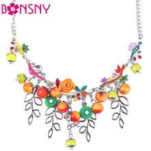 Buy Bonsny Statement Necklace Flower Fruit Enamel Branch Alloy Long Chain Choker 2016 New Jewelry Women Charm Collar Accessories for $6.75 in AliExpress store