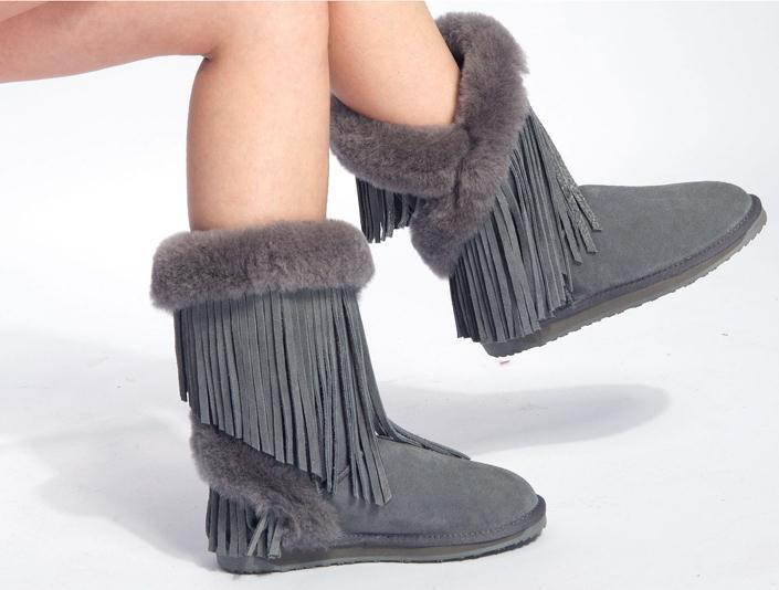 Fringed leather snow boots nubuck leather boots women warm autumn and winter snow boots cotton . Free Shipping(China (Mainland))