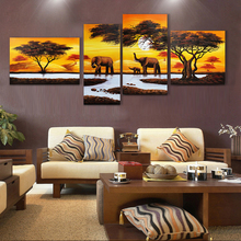 Free Shipping 4 Pcs Landscape Oil Painting Hand Painted Oil Painting On Canvas For Living Room(China (Mainland))