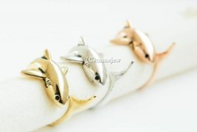 1pcs Free Shipping Antique Gold Silver Animal Shark Anillo Wrap Rings for Women and Girls Unique adjustable Rings Bague jewelry