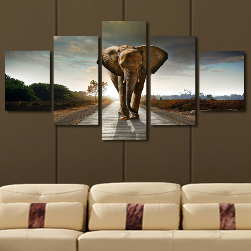 5 Pcs No Frame Elephant Painting Canvas Wall Art Picture Home Decoration Livi