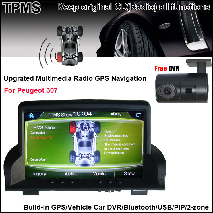 """7""""Capacitance Touch Screen Car Navigation for Peugeot 307 +TPMS+DVR +Android mobile phone and host interaction(China (Mainland))"""