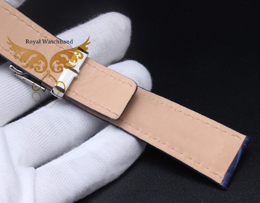 Новый черный часы полоса 22 мм 24 мм картины аллигатора натуральная кожа ремешок полированный Depolyment застежка пряжка