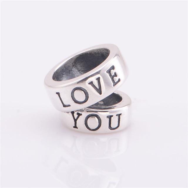 100% стерлингового серебра 925 Jewerly люблю тебя спейсерной старинные бусины DIY выводы ввбр женщины подходит европейским очаровывает браслеты