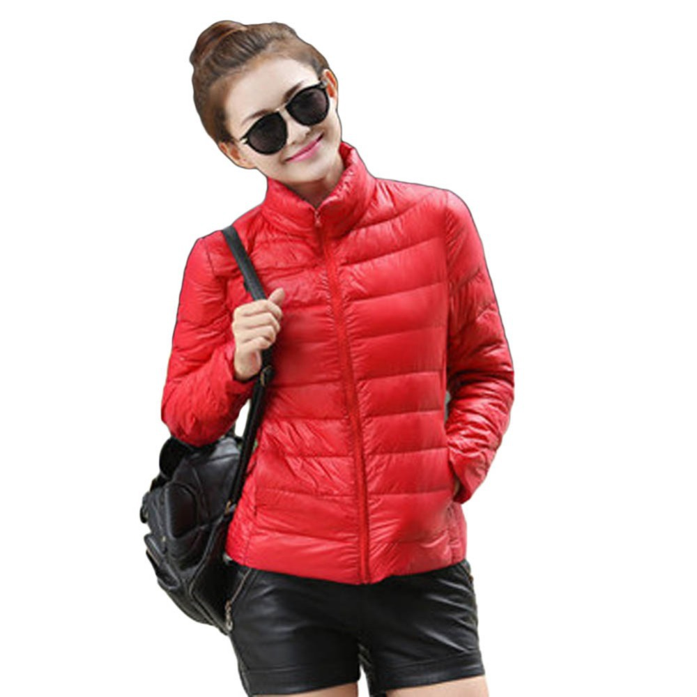 Autumn Winter New Women Down Jackets Slim Office Ladies Zippers Plus Size Coats Parkas Casual Parka