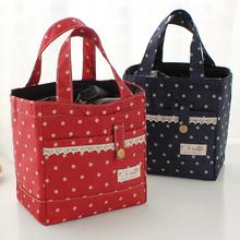 Thickening Canvas Handbag Lunch Bag Dots Lunch Box Bag Thermal Bag Cooler Box Bento Bag(China (Mainland))