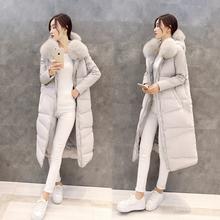 2016 Ukraine Winter Duck Zipper Broadcloth No 90% Full New Women's Big Real Fox Hoodie Jacket Women Long Section Knee Down