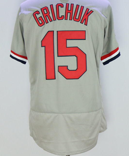 #15 Randal Grichuk Jersey 100% Stitched Baseball Jerseys Color Gray Blue(China (Mainland))