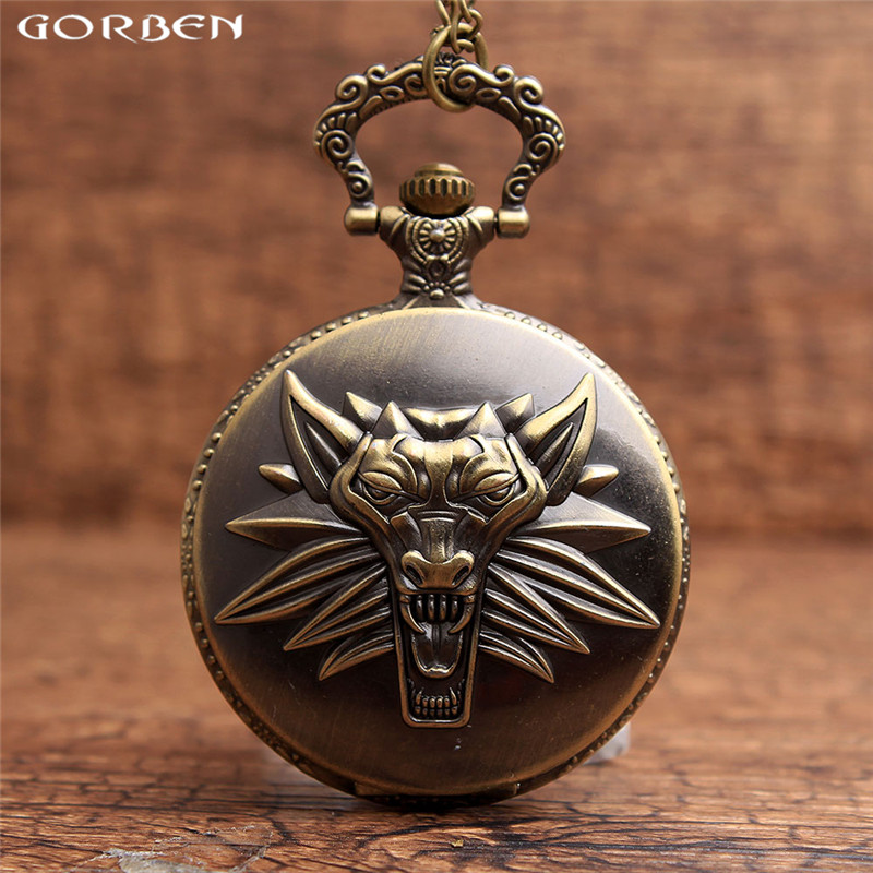 Final Fantasy Bronze Wolf Head Retro Sculpture Fashion Clamshell Men Pocket Watch New Arrival Top sales Father's Day Gift G97(China (Mainland))