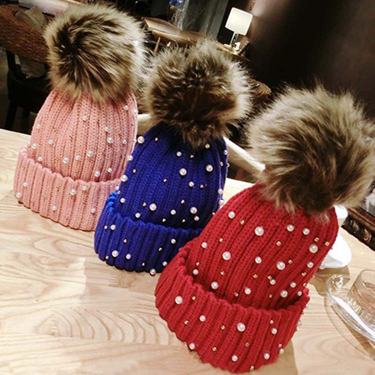 2014 new winter beanie hat pearl line fall and winter hats for men and women fashion casual female winter hat hat(China (Mainland))